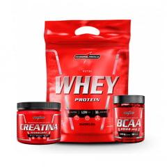 Nutri whey 900gr + creatina 150gr + amino bcaa 90caps integralmedica