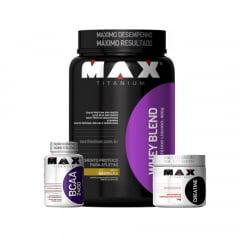 whey blend 900gr + creatina 150gr gratis bcaa 2400 60caps max titanium